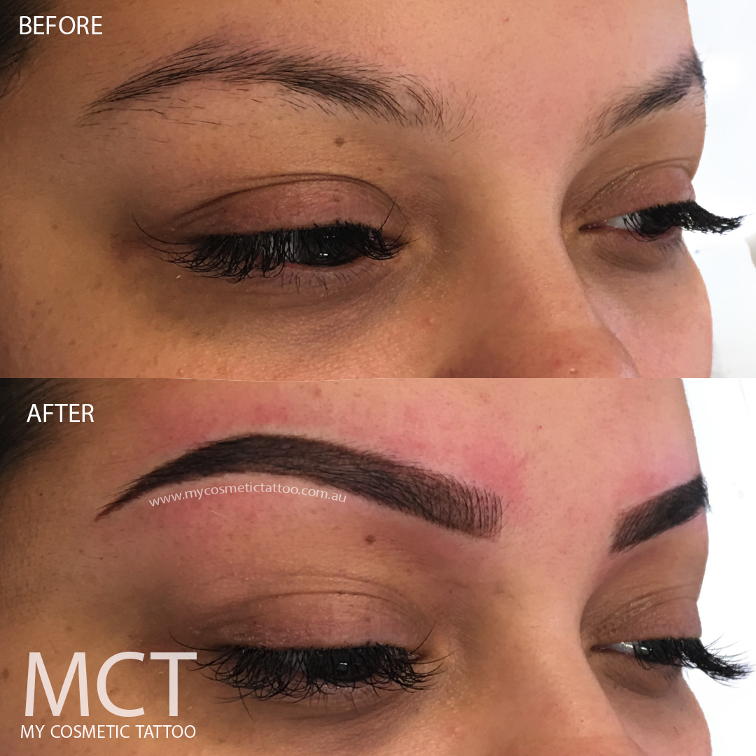 Eyebrow Tattoo: Hybrid Eyebrow Tattoo Before & After